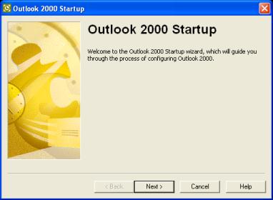 Launch Outlook 2000, click Next