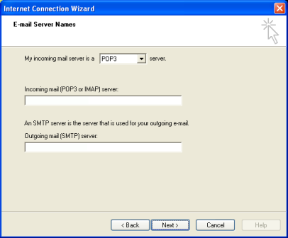 Enter the Email Server Names information