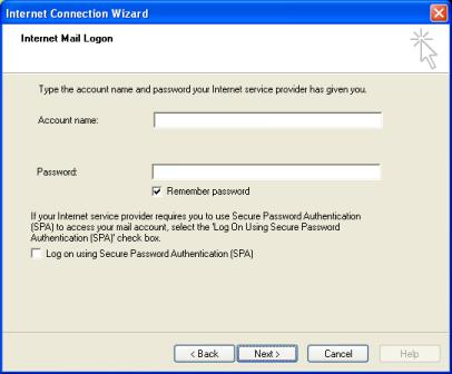 Enter the Internet Mail Logon information
