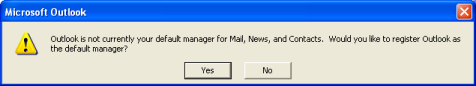 Click Yes, if you wish to have Outlook 2000 as your default email application