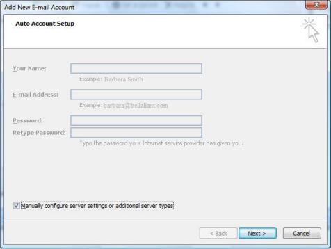 Select Manually configure server settings