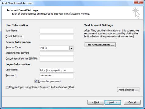 Enter the Internet Email settings information