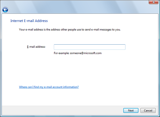 Enter your email address, click Next