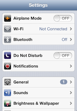 Tap Wi-Fi in the mobile device Settings screen