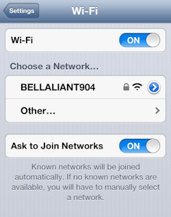 Tap the wireless network name
