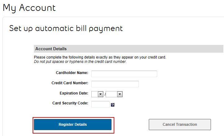 interface automatic bill payment
