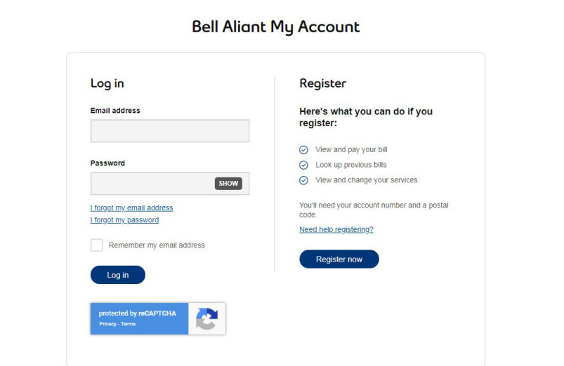 Bell Aliant Login at service.aliant.bell.ca