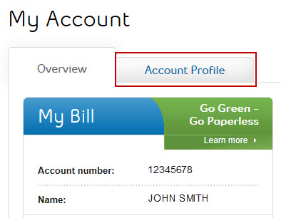 Image: My Account Profile tab