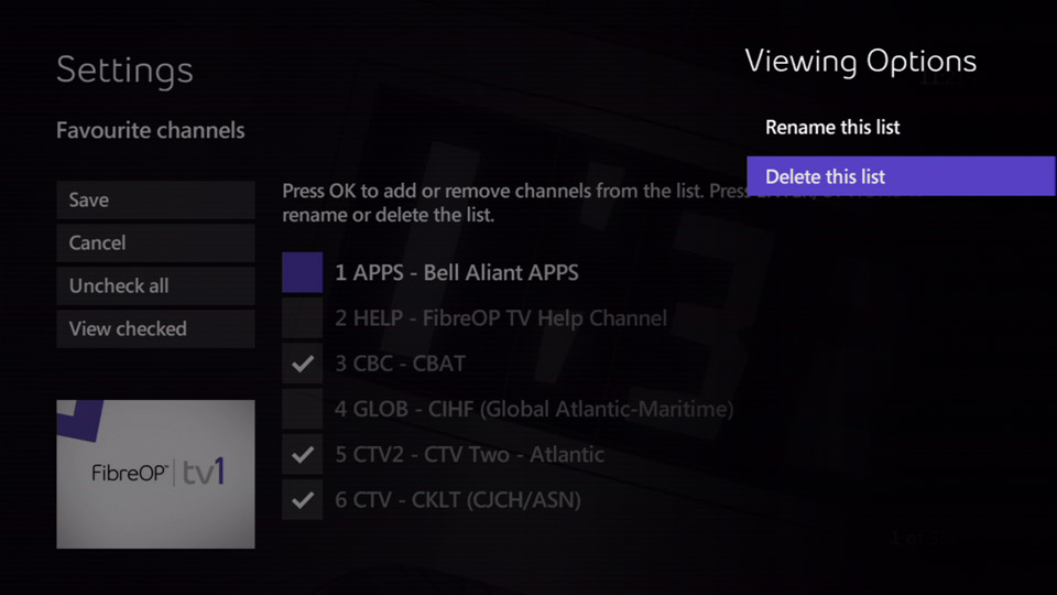 Delete a favourite channels list - Support - Bell Aliant