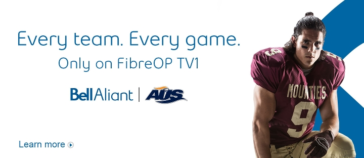 Every team. Every game. Only on FibreOP TV1. Atlantic University Sport. Learn more.